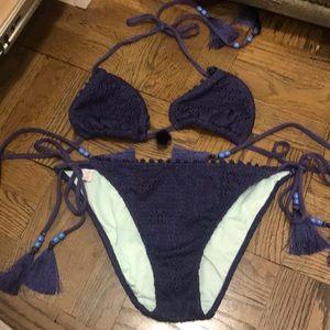 Bikini in blue with periwinkle beads in ties